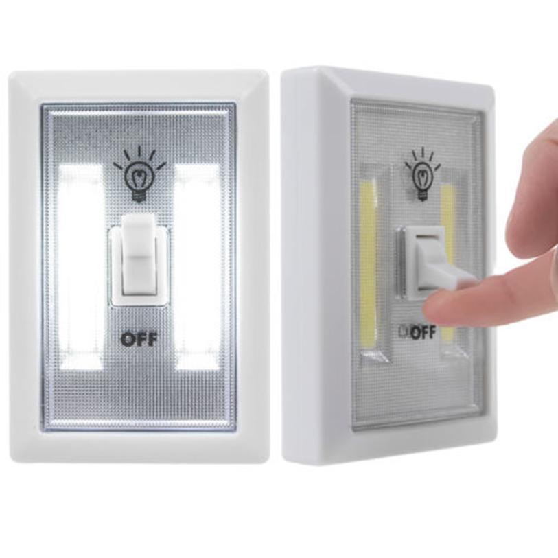 2017 New COB LED Wall Lighted Switch Wireless Closet Night Light Multi-Use Self-Stick