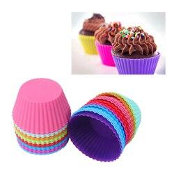 Bem 1 conjunto de 12 peças (1 dúzia) em forma redonda bolo de silicone moldes de cozimento geléia molde silicone cupcake pan muffin cup