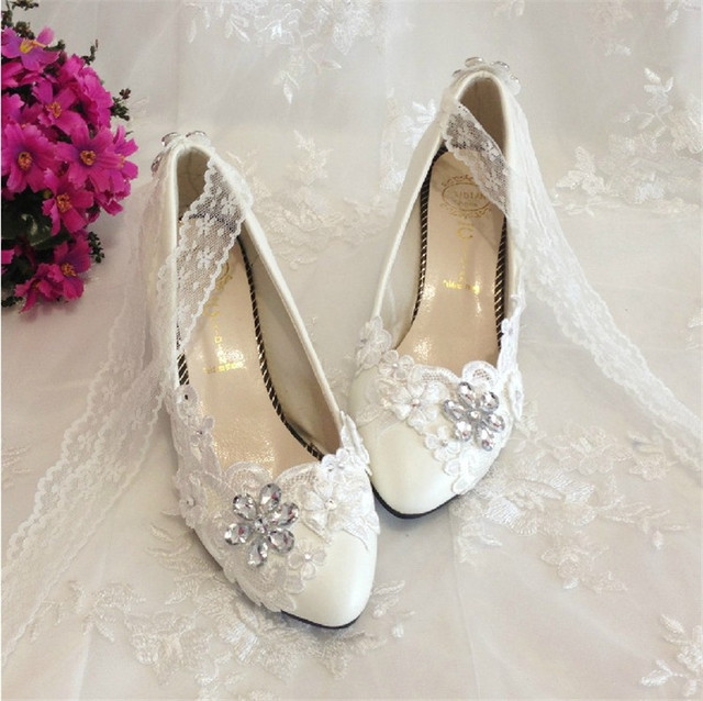 Free Shipping Women Ivory White Crystal Wedding Shoes Las Bridal Party Mary Janes Flats
