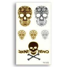 Crazy Skull Fake tattoo Metallic Gold Sliver Waterproof Temporary Stickers Water Transfer Flash Glitter Cool Body Art(China)