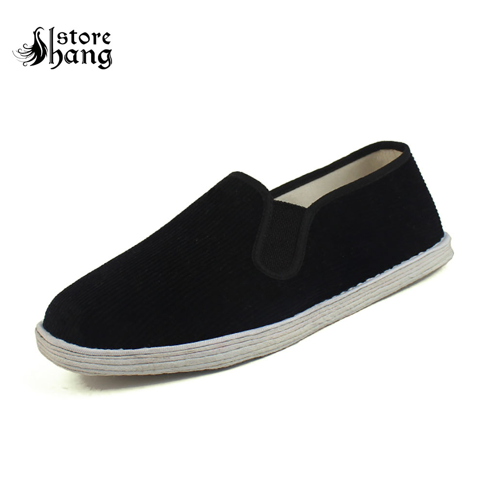 Men/'s Casual Slip On Cotton V Shoes Kung Fu Martial Arts Black Sizes 41-48 New
