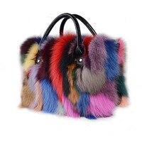 2018 новые Цвет блока украшения Настоящее Silver Fox меховой Для женщин сумки из натуральной кожи сумка разноцветный меховые сумки мех лисы сумки