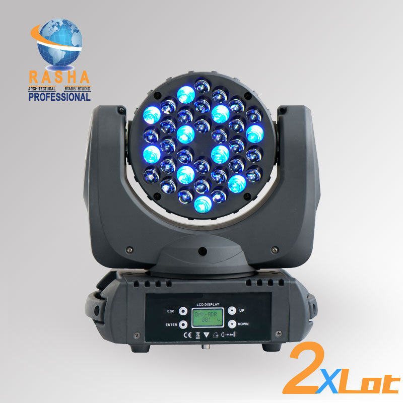2X LOT Freeshipping New 36*3W CREE 4in1 RGBW LED Moving Head Beam Light With LCD Display,Power In&out,Stage Moving Head Beam