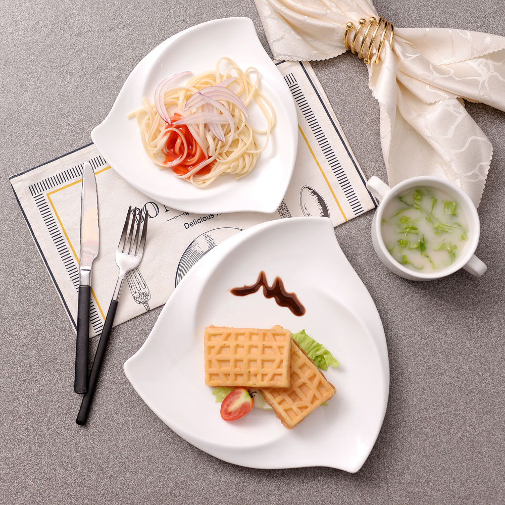 8inch/10inch High End Hotel Restaurant Dishes Ceramic Plate Breakfast Dinner Plate Snack Tray Bone China Food Dishes