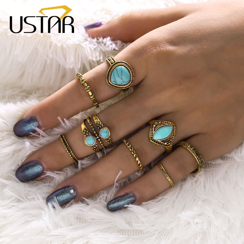 USTAR Vintage Knuckle Rings set for Women Girl Antique Gold Color Blue Stone Finger midi Rings female Bohemia Jewelry Anel gifts