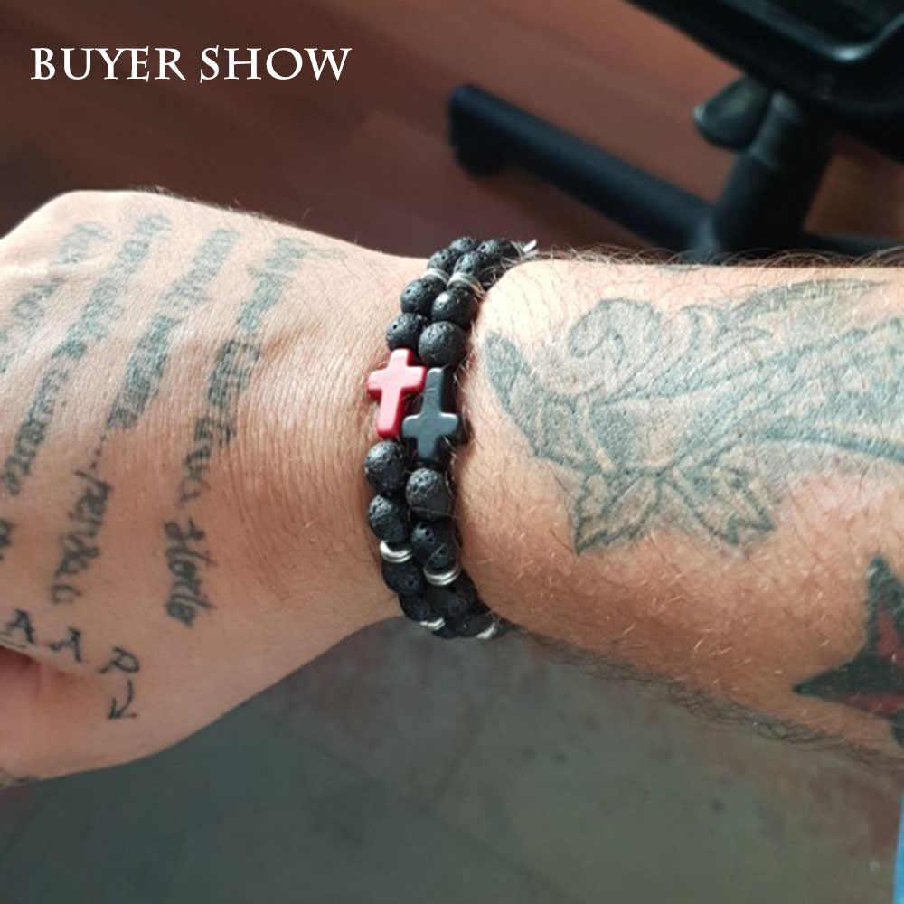 Очаровательный мужской браслет с крестом Иисуса, натуральный камень, лава, бусины ручной работы, для женщин, влюбленных пар, браслеты и браслеты для мужчин, ювелирные изделия