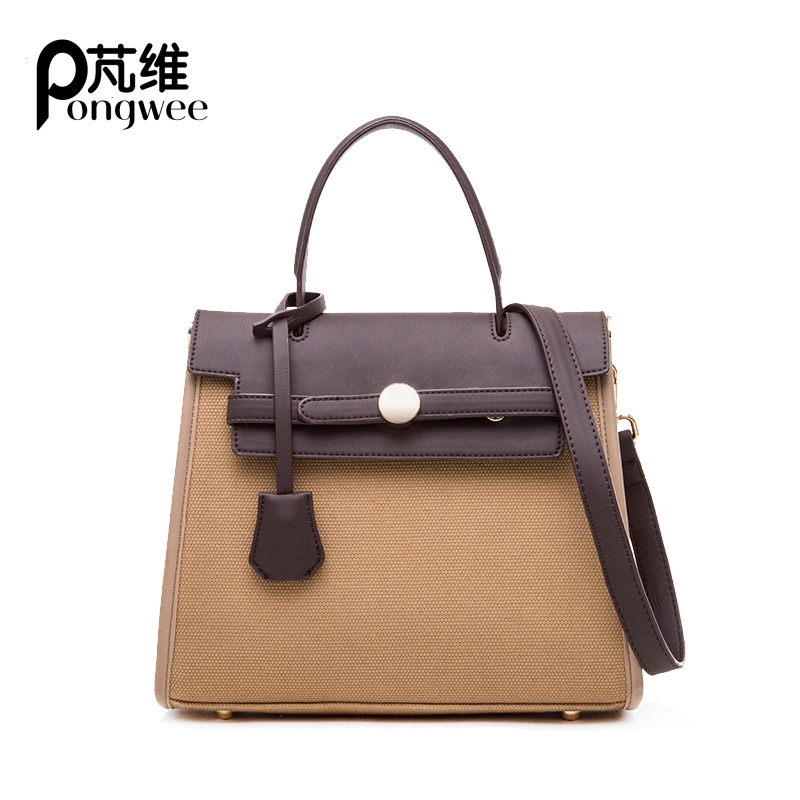 PONGWEE Luxury Brand High Quality Canvas Women Bag Female Messenger Bag Crossbody Bags for Women Ladies Handbag Sac A Main pu high quality leather women handbag famous brand shoulder bags for women messenger bag ladies crossbody female sac a main