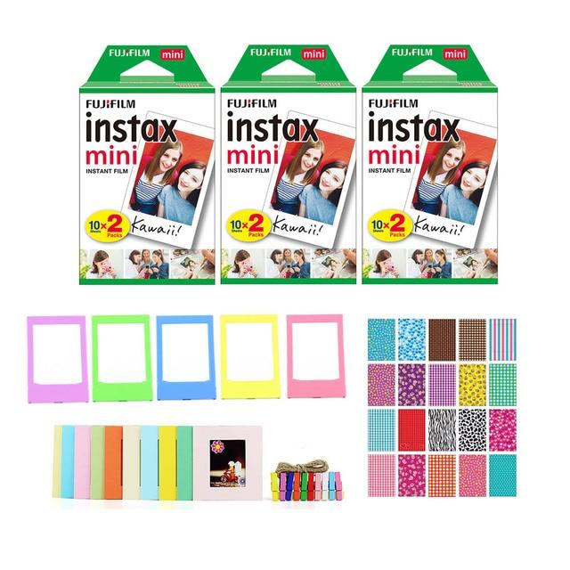 Fujifilm Instax Mini film natychmiastowy (3 podwójne paczki, 60 zdjęć ogółem) + 20 ramek na naklejki + 5 plastikowych ramek na biurko + 10 ramek na papier