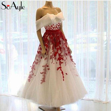 51b9a7778e1cc SoAyle A-Line Prom Dresses 2018 Off the Shoulder Tulle Red Lace Applique  Beading Ankle
