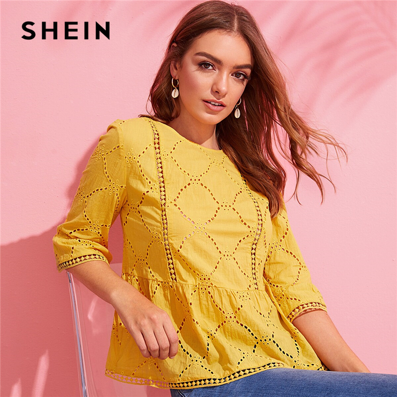 SHEIN Keyhole Back Schiffy Peplum Top Blouse Yellow Boho Solid Lace Eyelet Embroidery Ruffle Hem Women Summer Blouses|Blouses & Shirts|   - AliExpress