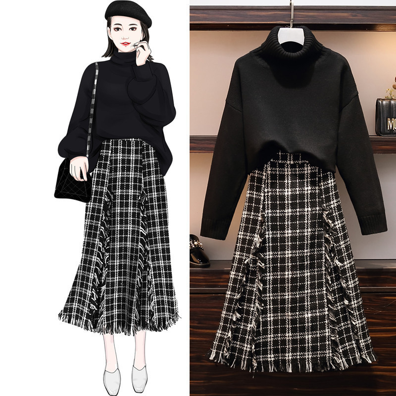 Women Set 2019 Autumn Warm Knit Sweater Pullovers+ Tweed Skirt Set 2 Pieces Causal Suits Ladies Irregular Plaid Knitted Suit