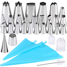 32 PCS/Set Silicone Pastry Bag Nozzles Tips DIY Icing Piping Cream Reusable Pastry Bags +32 Nozzle Set Cake Decorating Tools ttlife 112pcs pastry nozzles cake cream icing piping nozzles set christmas halloween decorating tools pastry tool silicone bag