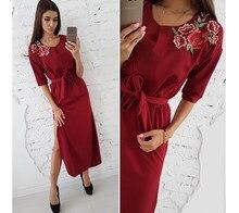 17ab9164f2b 2018 осеннее Новое модное богемное однотонное платье с вышивкой женское  прямое с круглым вырезом платья средней