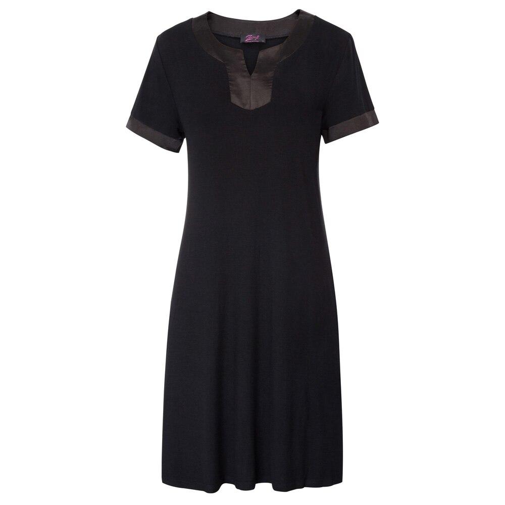 Ladies Sleepwear 2018 Summer Women Comfy Rayon Short Sleeve Side Split cotton Nightgown Sleep Dress nightdress