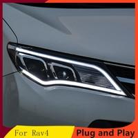KOWELL Car Styling for Toyota RAV4 Headlights 2014 2016 COB Design LED Headlight DRL Bi Xenon Lens High Low Beam Parking Fog