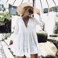 White Beach Dress Women Summer Lace Hollow Crochet Blouse Shirt Black Sundress Ladies Bikini Cover Ups Swimsuit Bathing Tunic