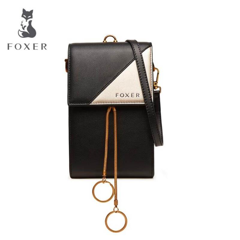FOXER 2018 New women leather bag Fashion famous brand mini Mobile phone bag women shoulder bag Handbags & Crossbody bags foxer brand 2018 women leather crossbody bag