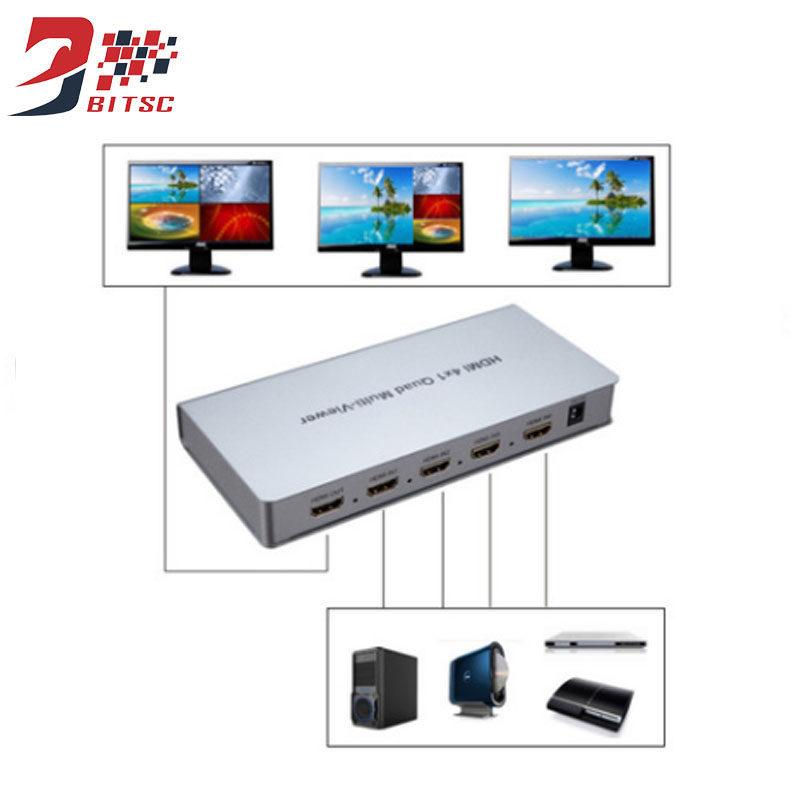 SZBITC 4x1 Multi-viewer HDMI Switcher 4 In 1 Out HD Screen Seamless Switching full 1080P 3D IR For HDTV DVD PS3 STB PC