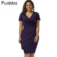 GIYI Plus Size 5XL Overlap Tight Surplice Work Wear Dress Women Shorrt Sleeve V Neck Office