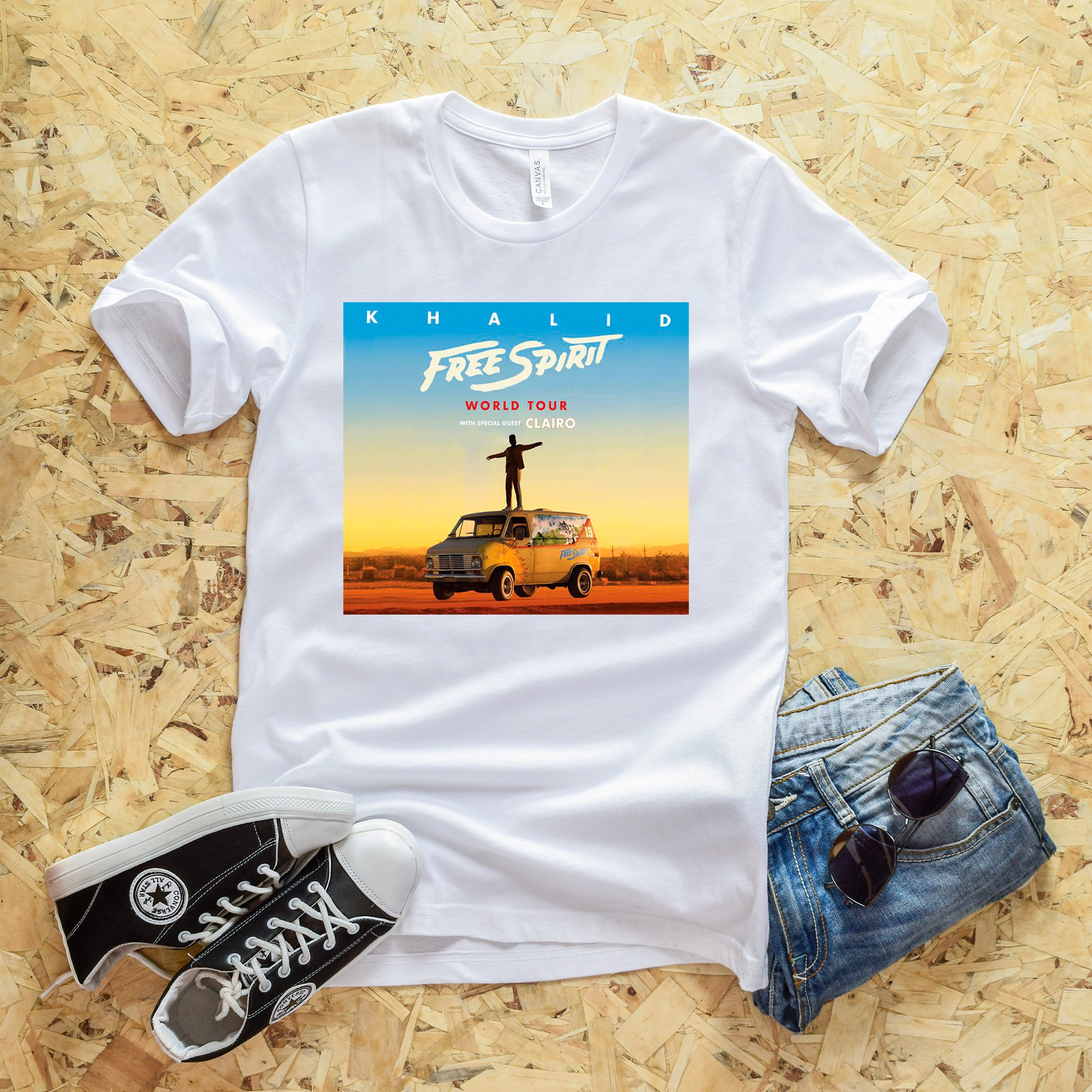 2019 New Arrived Khalid Free Spirit World Tour Unisex T-Shirt Females Hip-hop Graphic Funny  Womens Holiday Short Sleeve Shirts