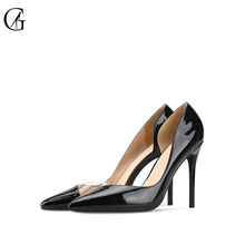 Купить с кэшбэком Goxeou Women Pumps 2019 Transparent 6-10cm High Heels Sexy Pointed Toe Slip-on Wedding Party Shoes black  For Lady Size 34-46
