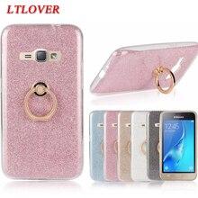 Newest Bling Glitter Cute Metal Circular Ring Stand soft Slim TPU Case For Samsung Galaxy J1 2016 J120 J120F Back Cover Fundas