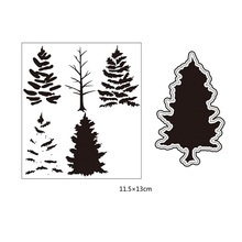 Pine Tree Cutting Dies and Clear Stamp Set for DIY Scrapbooking Photo Album Decoretive Embossing Stencial