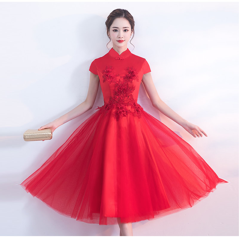 2018 Red Lace Qipao Modern Cheongsam Short Traditional Chinese Evening Dresses Robe Oriental Chinees Jurkje Boocre