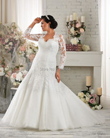 Free Shipping 2014 Mermaid Plus Size Wedding Dresses Long Sleeves Organza Bridal Gown Vestidos De Noiva