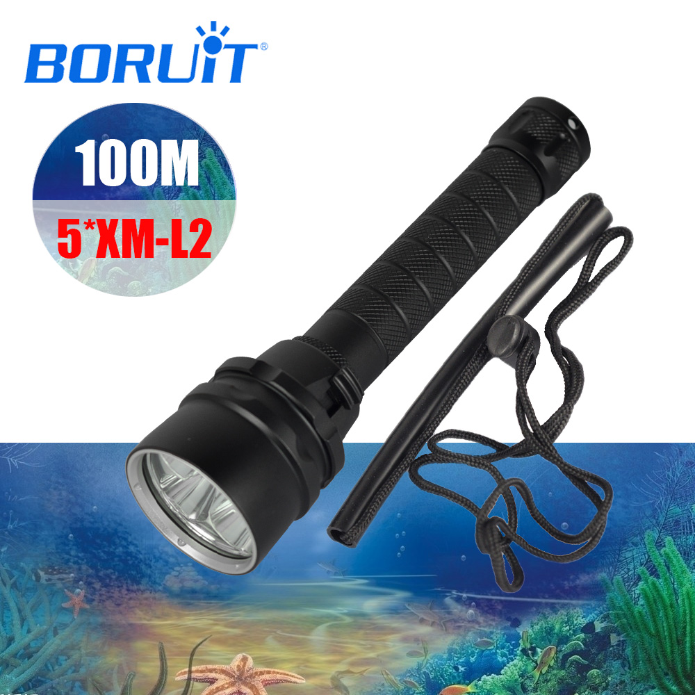 BORUIT Diving Flashlight 5x XML L2 LED Torch 10000LM Underwater 100M Waterproof Diving Flash Light Battery charger Free shipping
