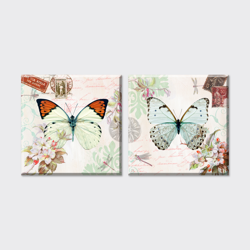 2 piece 2015 new cheap flowers and butterfly canvas art for Cheap prints and posters