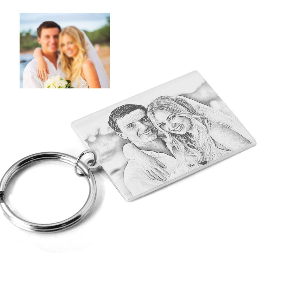 Personalized Gift for Him Couples Gift Custom Photo Keychain Engraved Date Keychain Anniversary Gift