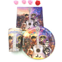coco theme 10Plate+10Cup+10Napkin Party Supplies for 10 kids COCO Cartoon Birthday Decoration Tableware Set