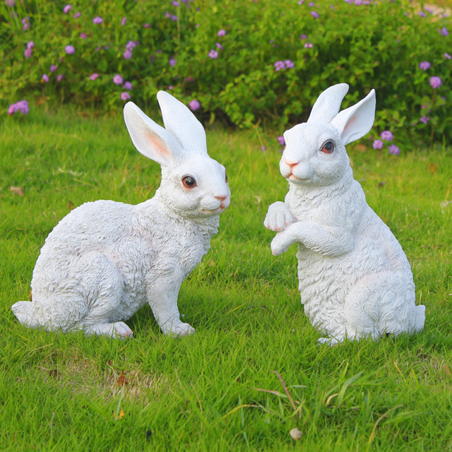 Free Post Simulation Animal Rabbit Cute Flower Garden Ornaments Home  Decoration Products Sculpture