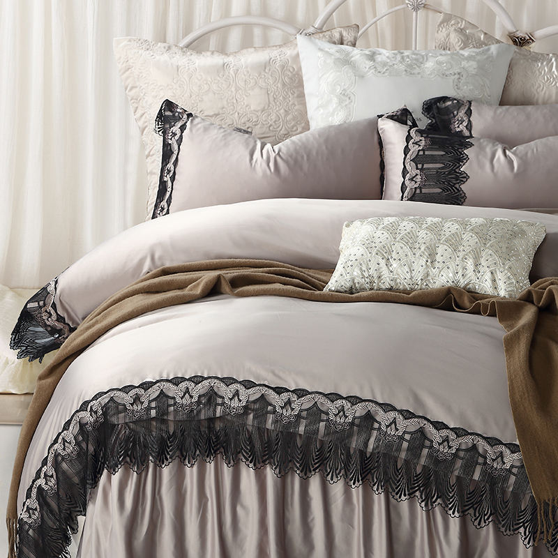 Solid Color Lace Border Embroidery Bedding Set 6pcs Queen King Size Egyptian Cotton Duvet Cover Bedskirt Pillow CasesSolid Color Lace Border Embroidery Bedding Set 6pcs Queen King Size Egyptian Cotton Duvet Cover Bedskirt Pillow Cases