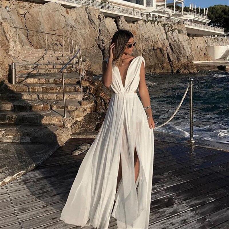 Bohemian Women Summer Dress 2019 Sexy Chiffon Party Night Club Dress Casual Long White Dress