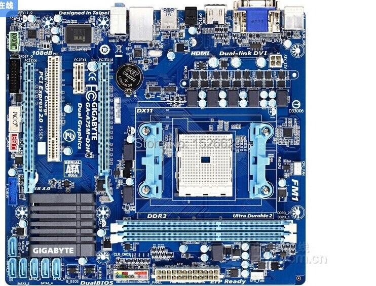 100% original Desktop Boards motherboard for Gigabyte GA-A75M-D2H DDR3 AMD Socket FM1 All solid capacitors free shipping