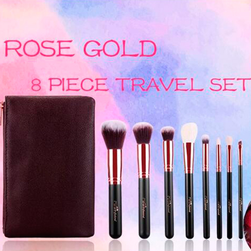 Professional New Makeup Brush 8 pcs Cosmetic Make Up brushes Set With Case Bag Kit, Free shipping hot sale 2016 soft beauty woolen 24 pcs cosmetic kit makeup brush set tools make up make up brush with case drop shipping 31