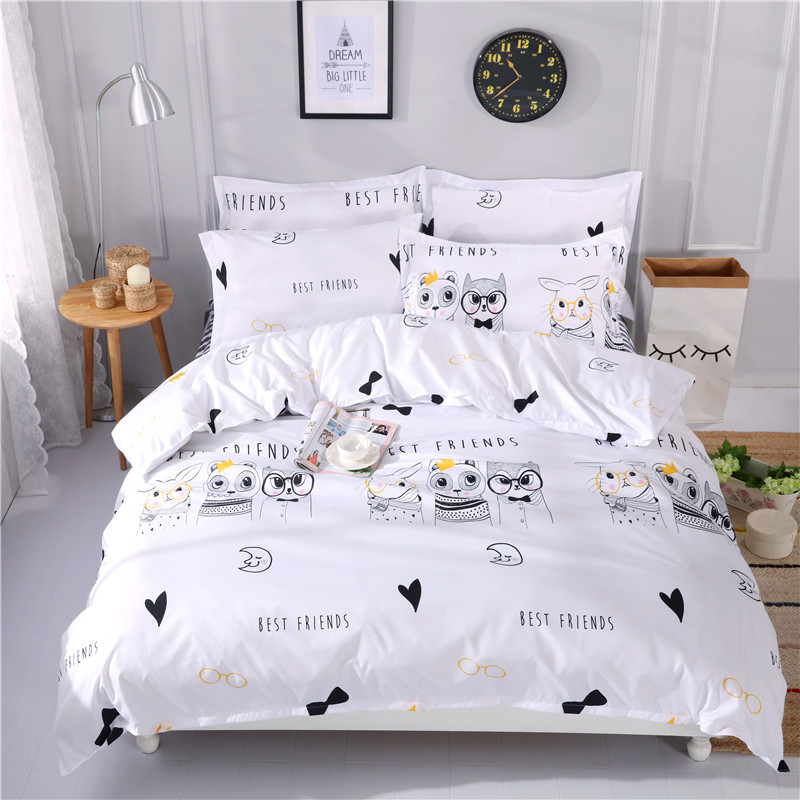 Cartoon Minimalistic Small Animal Pattern 4Pcs Bedding Sets Bed Linen Bedding Set Winter Queen Size Without Comforter Flat Sheet