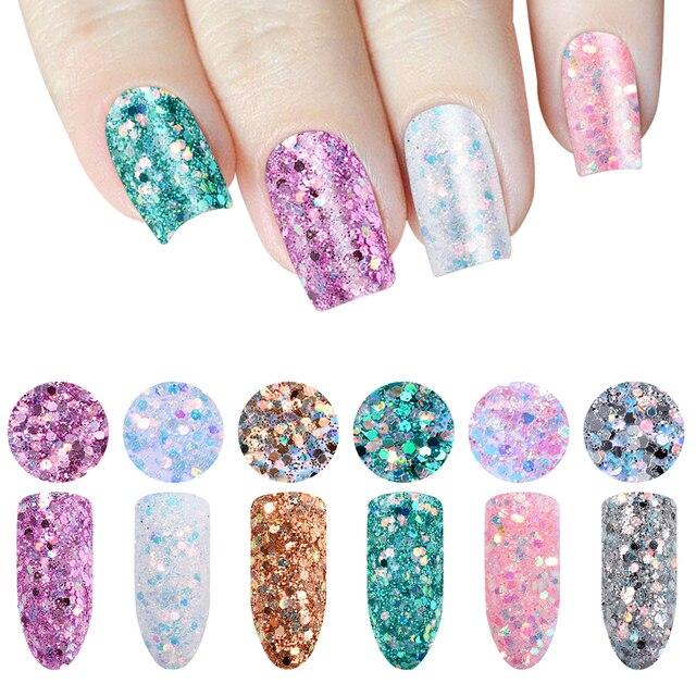 Shinning Colorful Nail Flakes 6 boxes/set Laser Mixed Nail Glitter ...