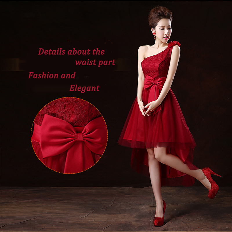 Image 3 - JaneyGao Prom Dresses Short 2019 New Style Women Formal Dress For Prom Party One Shoulder Low Hight Front Short Long Back Style-in Prom Dresses from Weddings & Events