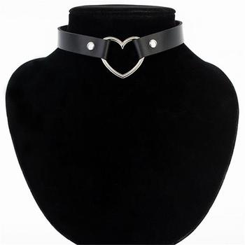 Meajoe Trendy Sexy Punk Gothic Leather Heart Studded Choker Necklace Vintage Charm Round Collar Necklaces Women Jewelry Gift