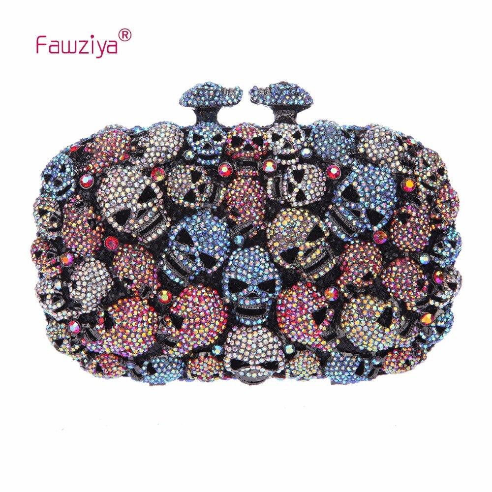 Fawziya Skull Bag Skull Purses And Handbags For Women Kisslock Crystal Evening Clutch Bags fawziya evening bags kisslock purses hard case clutch evening party bags