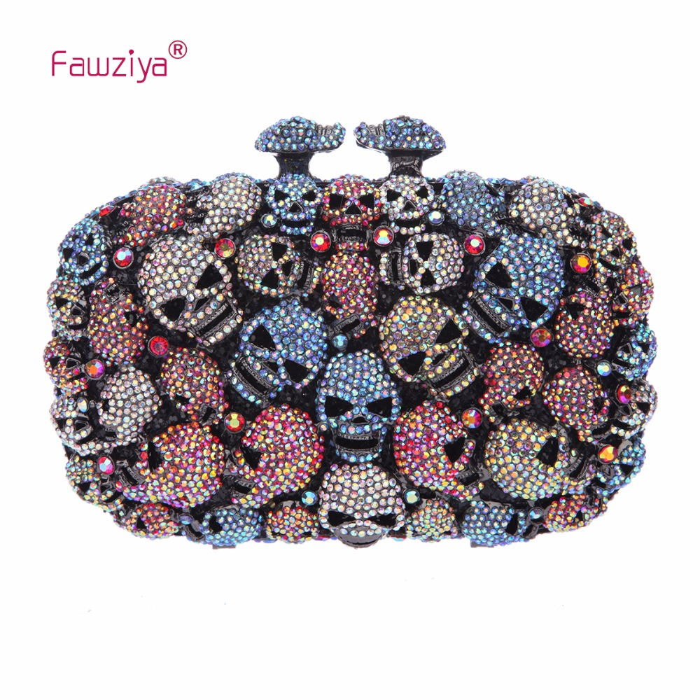 Fawziya Skull Purses And Handbags For Women Kisslock Crystal Evening Clutch Bags fawziya fringe bag luxury rhinestone grape purses and handbags for womens clutch purse