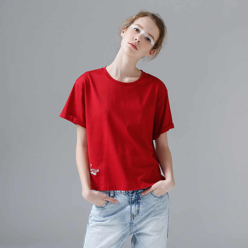 Toyouth harajuku Lustige Stickerei Weibliche T Hemd Frauen Casual Solide Kurzarm Baumwolle T Shirt Femme