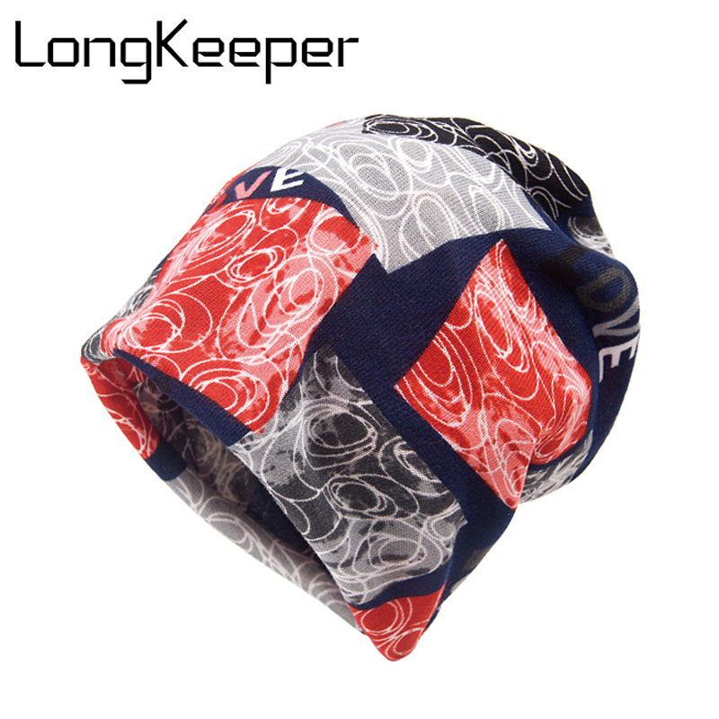 LongKeeper Knit Women Love Hat Scarf Winter Warm Fashion Caps For Girl Beanie Skullies Hip Hop Floral Female Bonnet Sale new fashion women autumn hat caps for girl rivet knit beanie skullies colors men casual hip hop hats adult winter bonnet shop