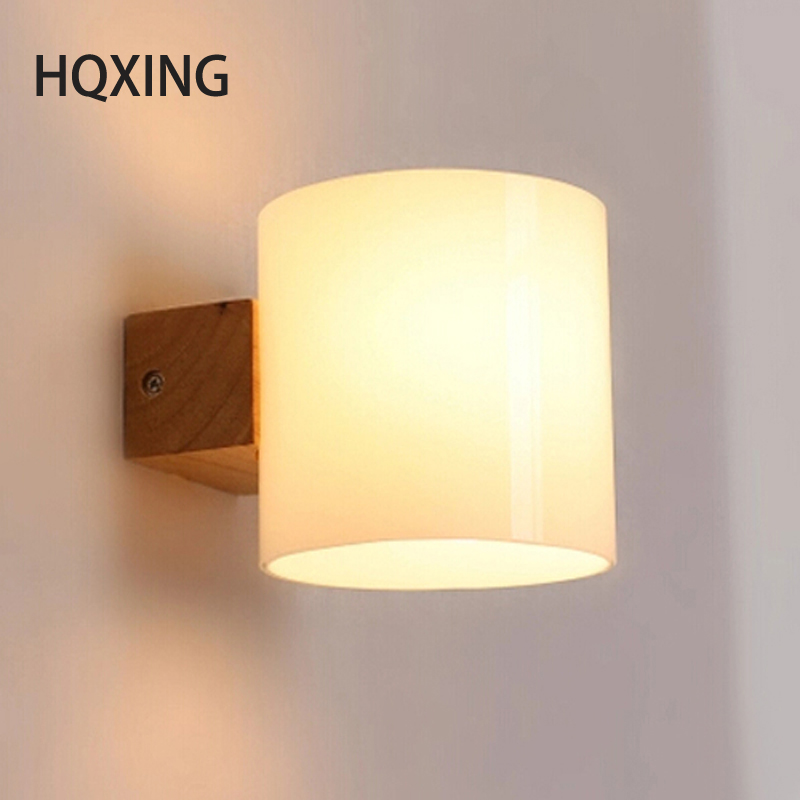 Contemporary Bedroom Wall Lights: HQXING Simple Modern Solid Wood Sconce LED Wall Lights For