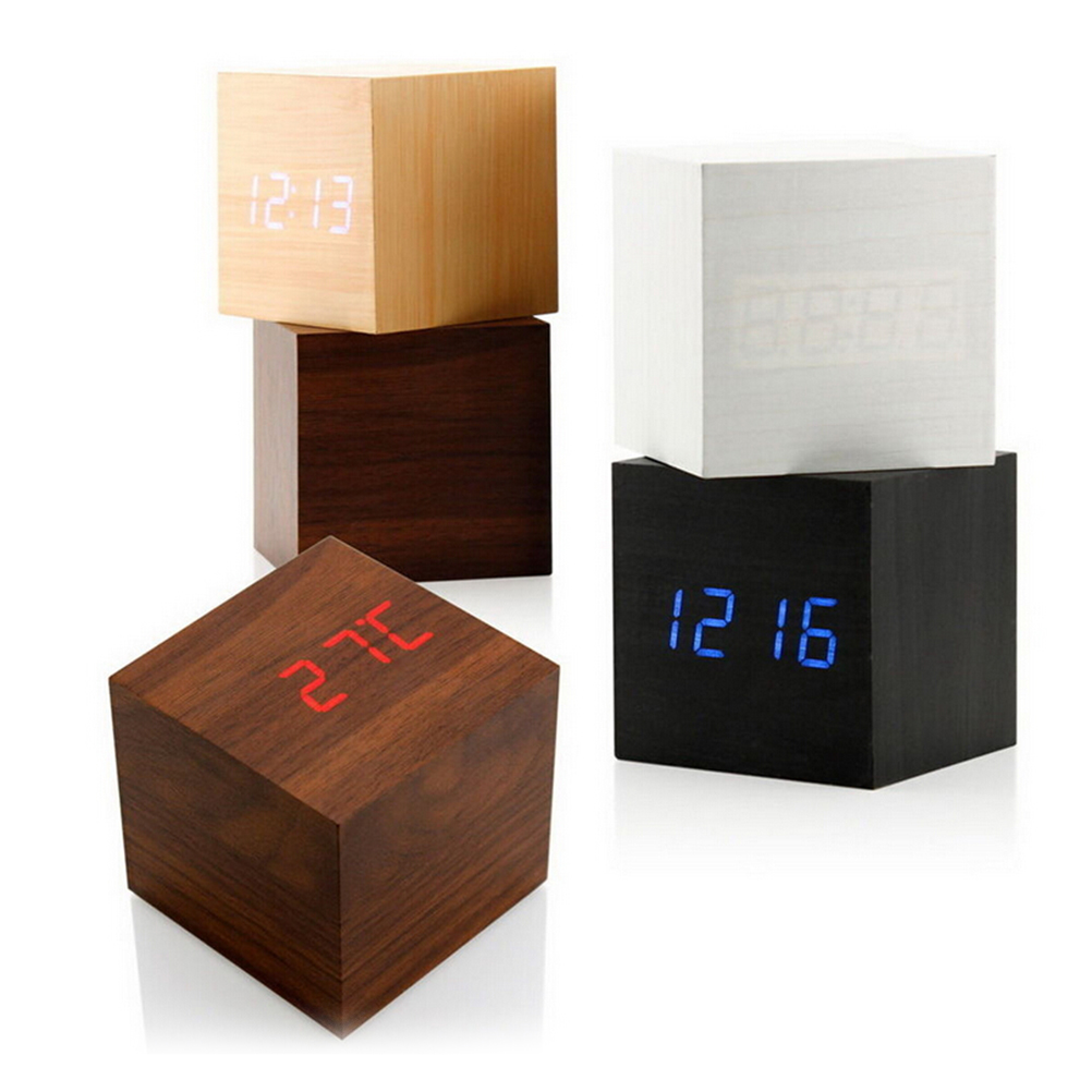 2018 Cube Wooden Wood Digital Led Desk Voice Control Alarm Clock Thermometer 4 Colors 1pc Beautiful In Colour