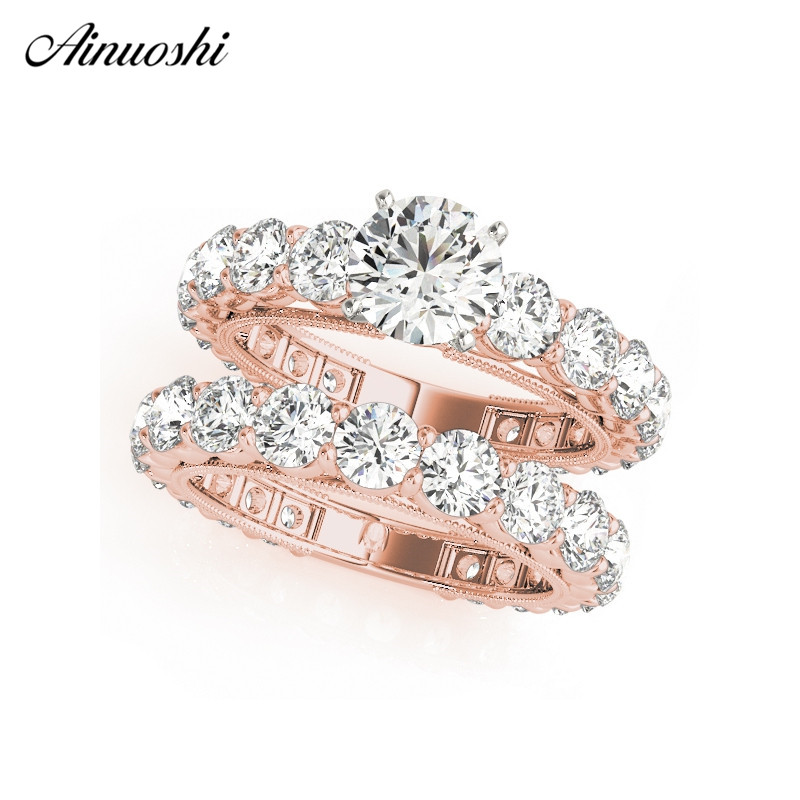 AINUOSHI Classic 925 Sterling Silver Women Wedding Ring Sets Rose Gold Color Round Lover Engagement Rings Aniversary Jewelry 6pcs of stylish color glazed round rings for women