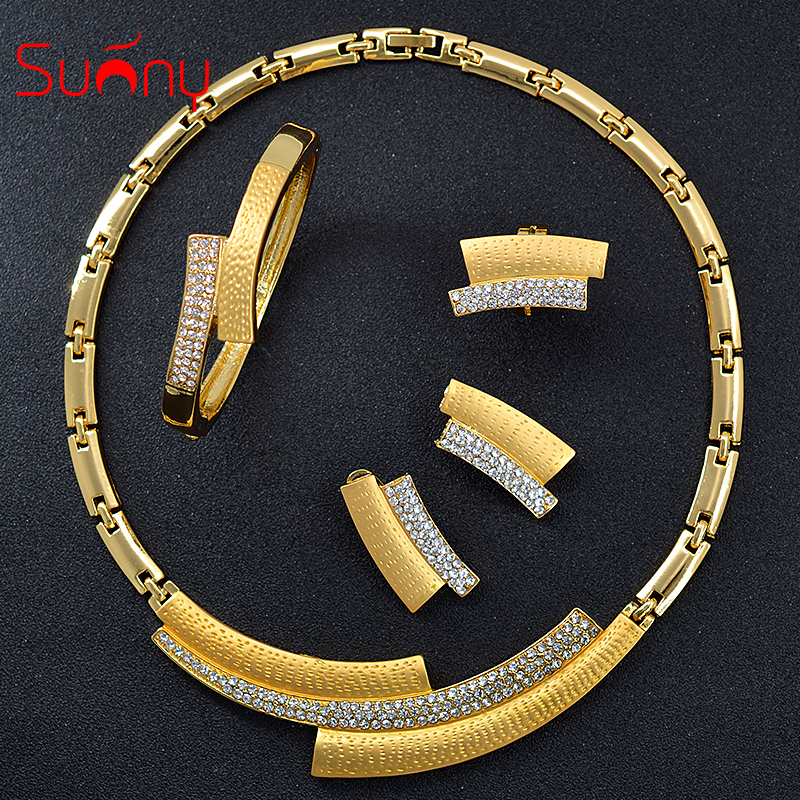 Sunny Jewelry Bridal Jewelry Sets Wedding Engagement Cubic Zirconia Pillar For Women Girls Gifts Necklace Earrings Ring BraceletSunny Jewelry Bridal Jewelry Sets Wedding Engagement Cubic Zirconia Pillar For Women Girls Gifts Necklace Earrings Ring Bracelet